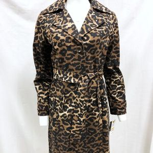 NWT Alfani Animal Print Long Trench Coat